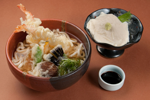 Tempura Udon and Yuba Sashimi Set 1,600 yen
